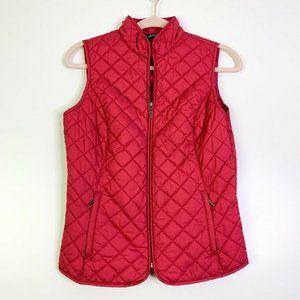 Eddie Bauer Women Red Full Zip Puffer Vest Size XS